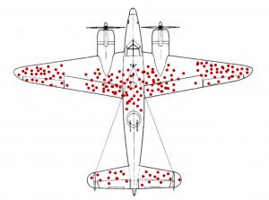 Los puntos rojos a lo largo del avión señalan los agujeros de bala con los que regresaban los aviones a la base
